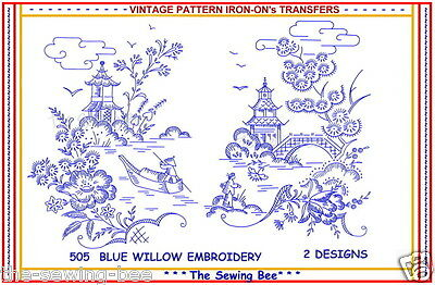4 Blue Willow Oriental Embroidery Transfer pattern NEW!  No. 505