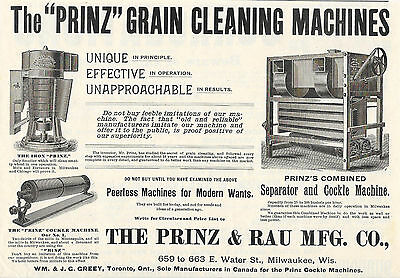 Big 1893 Prinz & Rau Smut Separator & Cockle Machine For Grist Mill Ad Milwaukee