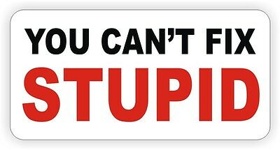 You Cant Fix Stupid Hard Hat Sticker \ Decal Funny Foreman Laborer Helmet Label