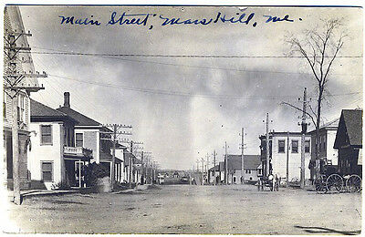Mars Hill ME Main Street View Horse & Wagons Vintage Real Photo RPPC Postcard