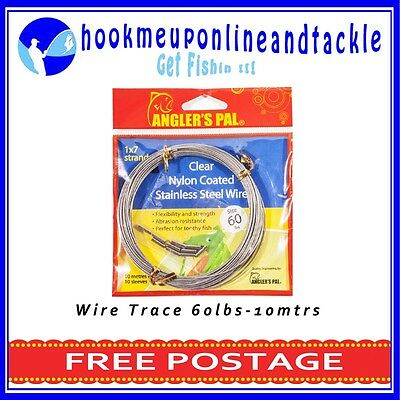 2x60lbs x 10mt Roll 1x7Strand Clear Nylon Coated Stainless Steel Wire 10 Sleeves