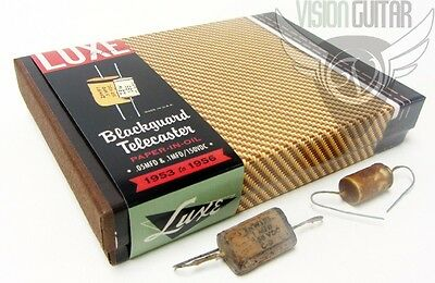 Luxe 1953-56 Blackguard Tele Repro Handmade Paper-In-Oil .05 & .1 Capacitor Kit