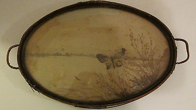 Antique Serving Tray Pressed Butterfly