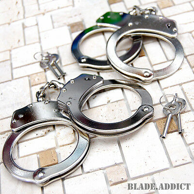 2Pc Professional Chrome Nickle Plated Steel Double Lock Police Hand Cuffs w/ Key