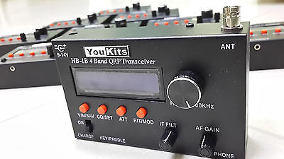 Youkits HB1B MK2 4 Band HF QRP transceiver with 18650 battery pack and charger
