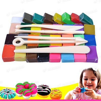 Gift for Kid 32 Colors with Tool set Oven Bake Polymer Clay Modelling Moulding