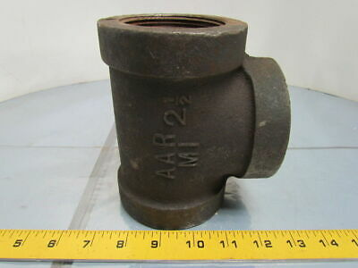 """Grinnell 2-1/2"""" NPT Malleable Iron Black Pipe Tee Class 300 Extra Heavy"""