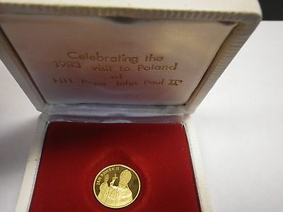 1982 Pope John Paul Ii Commemorative Gold 1000 Zlotych Proof Coin (Excellent)