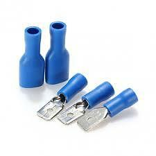 100 x  50 MALE + 50 FEMALE 6.3MM BLUE FULLY INSULATED CONNECTOR CRIMP TERMINAL