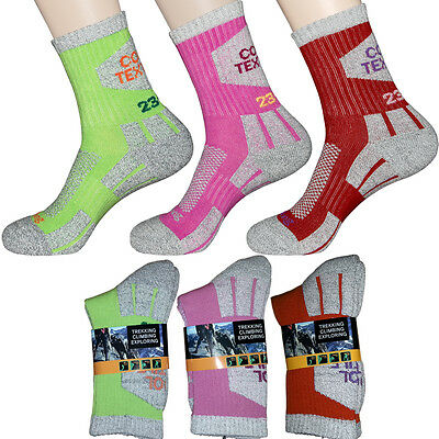 3 Pairs Lot Womens Trail Trekking Camping Walking Hiking Socks COOL-TEX Fabric