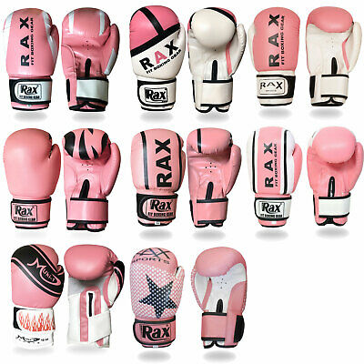 R A X Ladies Pink Boxing Bag mitts MMA jab women fight training sparring gloves