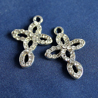 Charms Croce + Strass - in metallo - mm 25