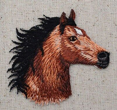 Brown Horse Head Facing RIGHT/Equestrian - Iron on Applique/Embroidered Patch