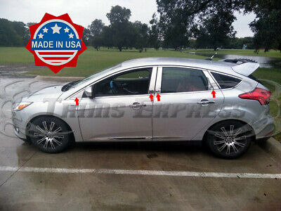 2012-2018 Ford Focus 8Pc w/Mirror Chrome Pillar Post Stainless Steel Trim No KP