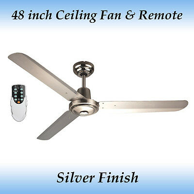 Sparky 48 inch 3 Blade Silver Stainless Steel Ceiling Fan with Remote