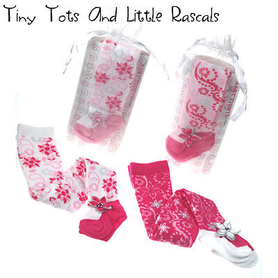 Baby Girl Luxury Cotton Glitter Tights Gift Occasion Party Sizes 0 - 12 mths