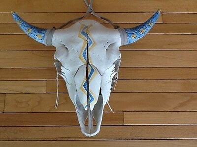 Hand Painted Lighting Bolt Large Buffalo Skull Western/Native American Plains