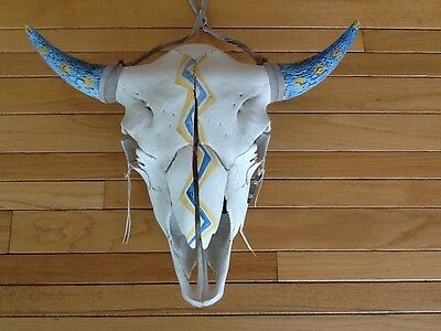 Large Buffalo Skull Hand Painted by Prairie Edge Blue Spotted Horn Plains Indian