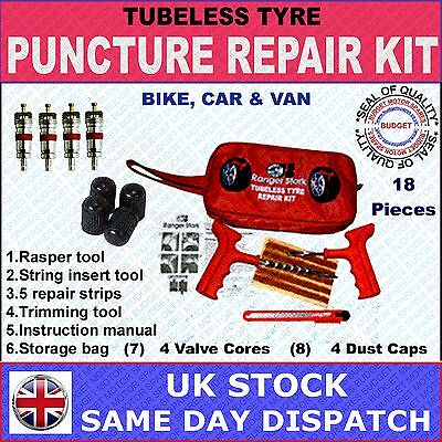 Car, Van, Motorcycle Tubeless Tyre Puncture Repair Kit - 18 Pieces