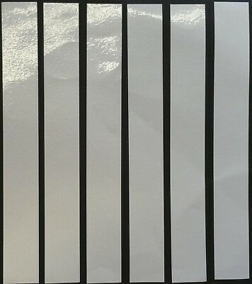 "SIX STICKY WHITE REFLECTIVE STRIPS-VINYL/TAPE  8"" x 1"""