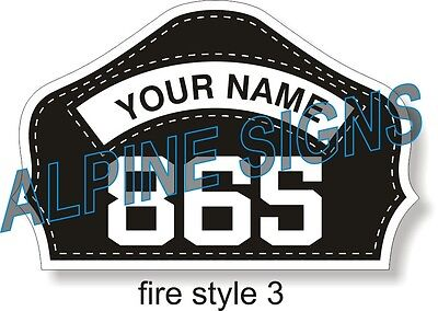 "Fire Firefighter Helmet Shield sticker - Style 3 - Custom just for You! 4.2""x2.8"
