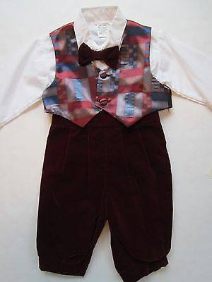 NWT's LIDA USA Boy's Suit 12mo VTG Childs Bowtie Vest Photo Church NOS Outfit