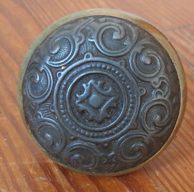 Ornate Victorian Door Knob In Two Tone Iron & Brass