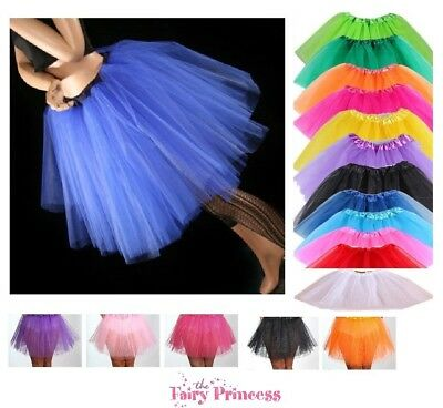 Long Girls Teenager Adult 3 Layer Tulle Tutu Skirt - Various Colours One Size