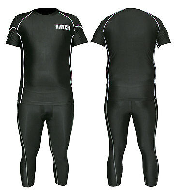 Mens Sports Running Compression Wear 2 PC Suit Tights 3 4 Pants Tops Shirt Skins
