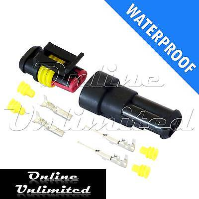 2 Pin Waterproof Automotive/Marine Electrical Sealed Wire Connector Plug 12/24v