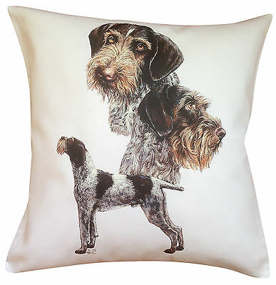 German Wirehaired Pointer Group Dog Cotton Cushion Cover - Perfect Gift
