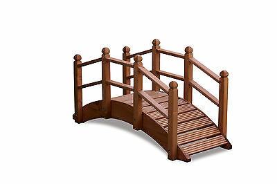 Oriental Wooden Garden Bridge 122cm UK Manufactured Teak Finish