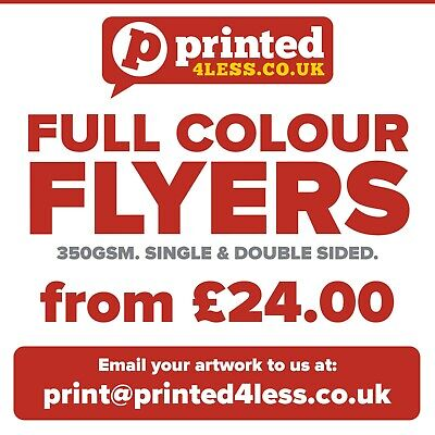 Flyers Leaflets Printed Full Colour 350Gsm Card A3 A4 A5 A6 A7 A8 Dl Menu Price