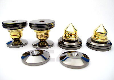 4x Speaker Spike Isolation Stand Cone with 4x Base Pads + 20 RCA Cover Cap BB4