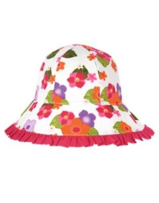 GYMBOREE SURF ADVENTURE WHITE w/ FLOWERS A/O RUFFLE SUN HAT 0 12 24 2T 3T NWT-OT