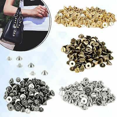 50 x Gun Metal Punk Spike Cone Screw Back Studs/Rivets in 9.5mm x 6mm -UK SELLER