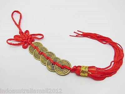 1x Chinese Fengshui 5-Emperors Coin Hanging with Red Tassel for Wealth(FS-CO14)