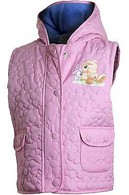Girls Fizzy Moon Padded Quilted Hooded Zip Up Bodywarmer Gilet Pink Flower 2-6yr