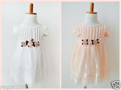 Baby Girl Vintage Lace Wedding Christening Birthday Party Formal Wear Dress