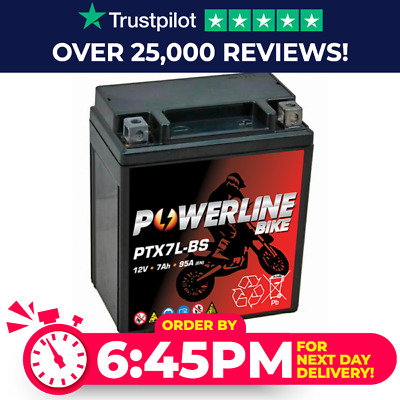 Powerline Bike Motorcycle battery Maintenance Free YTX7L-BS AGM Dry 12v 7Ah