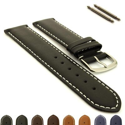 Men's Genuine Leather Watch Strap Band Genk SS Buckle Spring Bars 17 19 21 23 MM