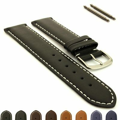 Men's Genuine Leather Watch Strap Band Genk Stainless Steel Buckle, Spring Bars