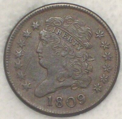 1809 HALF CENT Classic Head - Strong XF Original Red/Brown *RARE* Authentic C-6