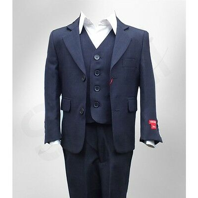 Boys Blue Navy Suits Italian Design Boy Wedding Party Prom Kids Dark Blue Suit