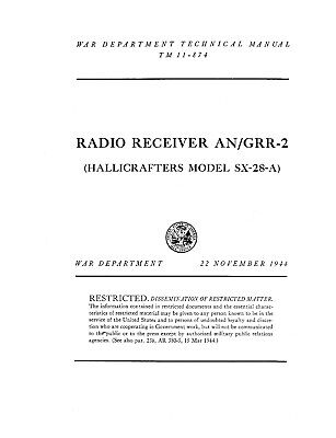 Hallicrafters SX-28A  Operation & Repair Manual Reprint SX28A  SX-28-A 70 Pages