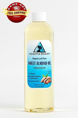 SWEET ALMOND OIL ORGANIC by H&B Oils Center COLD PRESSED PREMIUM 100% PURE 12 OZ