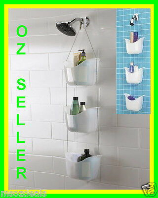 Quality Hanging Over Shower Arm 3 Tier Caddy Soap Basket  With Adjustable Height