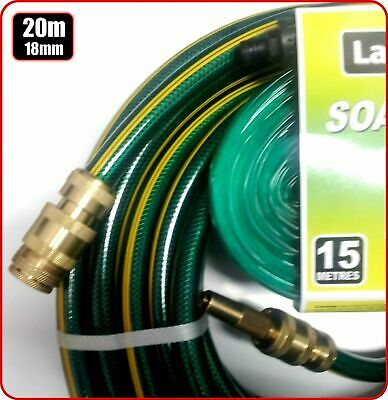 GARDEN WATERING LAWN HOSE BRASS FITTED18mm 3/4 x 20m AUSTRALIA BONUS SOAKER