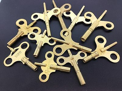 Brass Clock Wing Key Double End Trademark  Set of 11