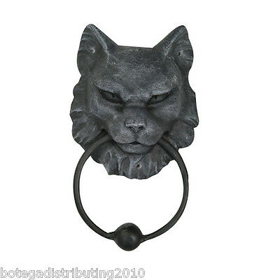 Evil Cat Gargoyle Head Door Knocker Statue Ball Metal Ring Tocador Puerta Gato